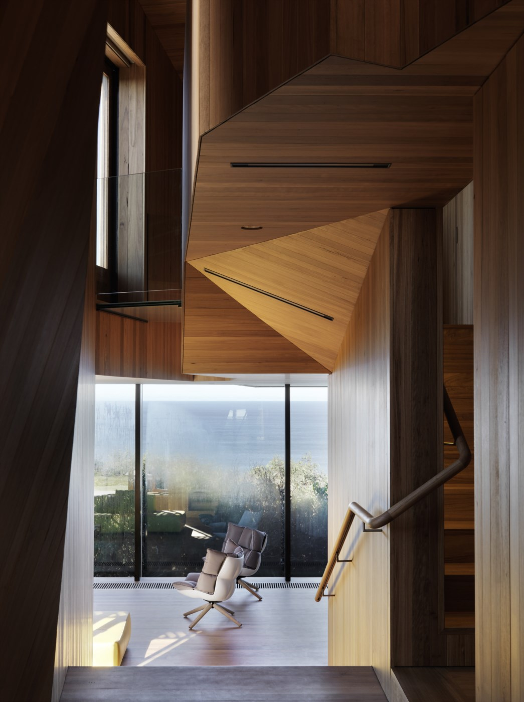 wooden modern timber interior, wall and ceiling cladding