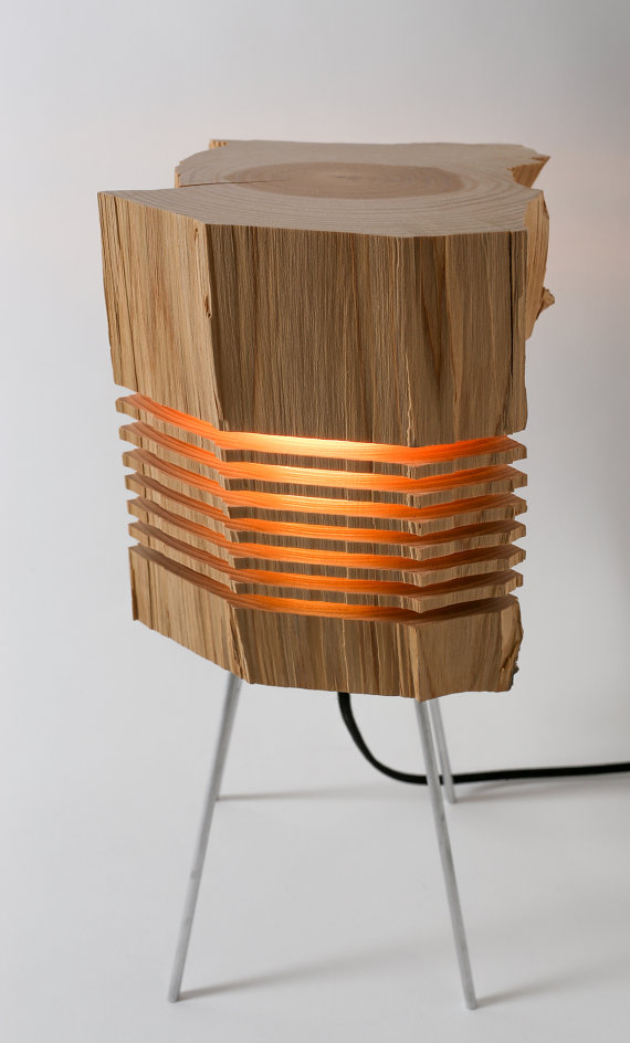wood Sculpture lamp design warm illuminated light