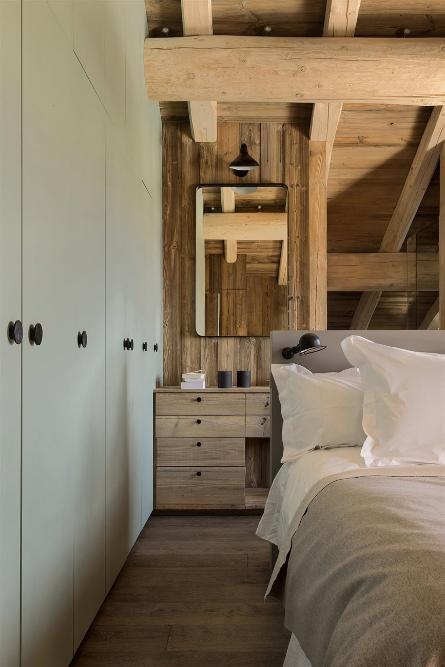 rustic cosy wooden bedroom