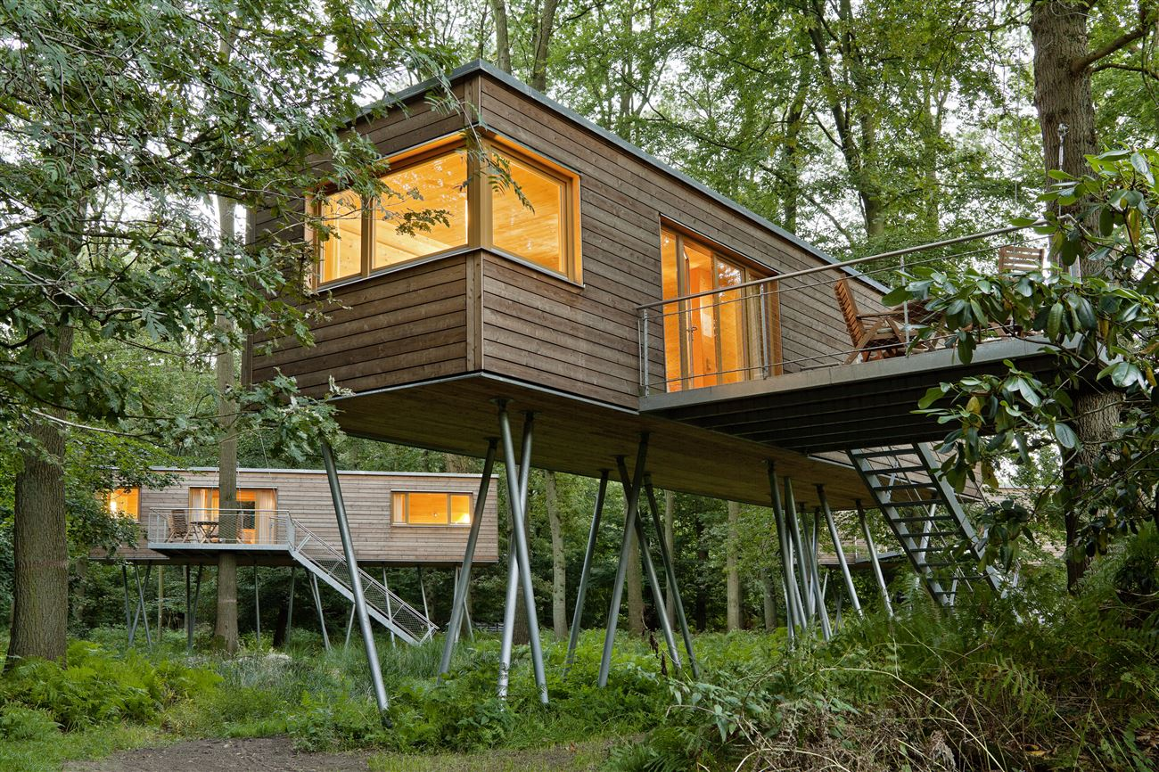 wooden treehouse in the middle of trees