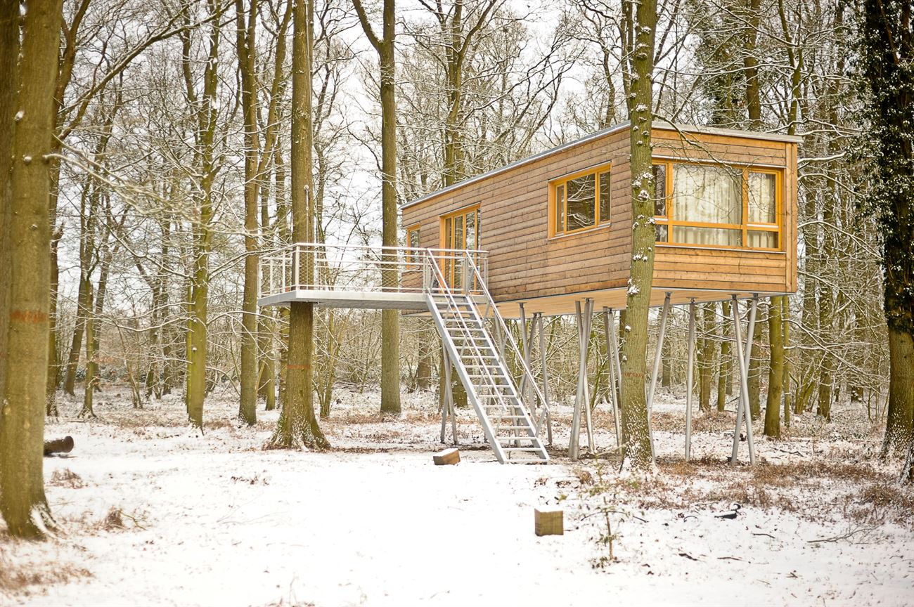 wooden treehouse in the snowy weather
