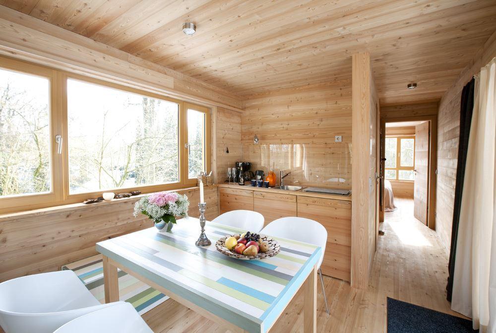 bright wooden dining room