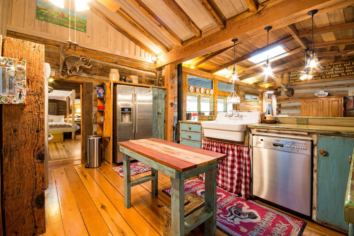wooden kitchen in farmhouse