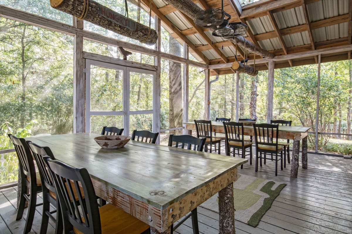 wood dining room with view