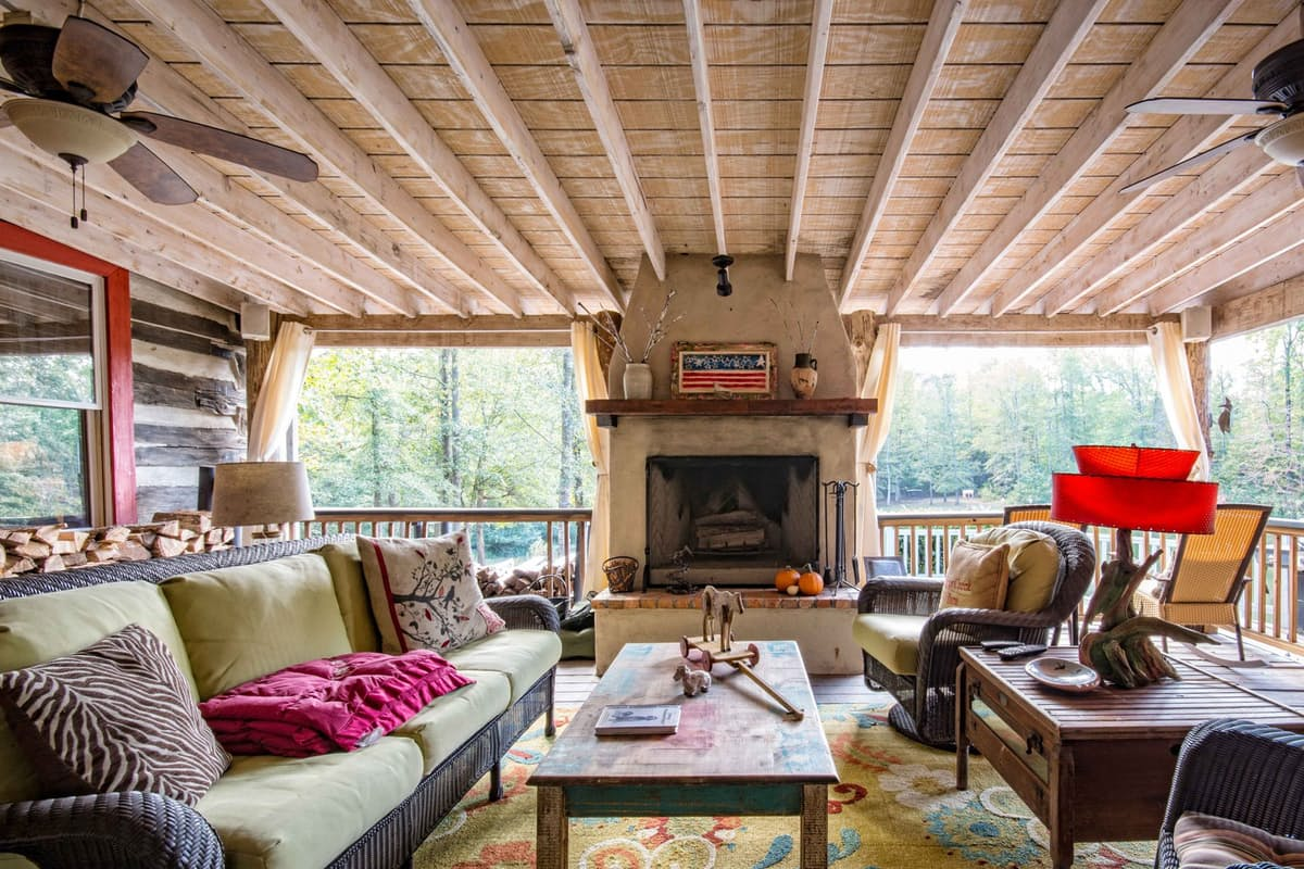 living room in log home farmhouse