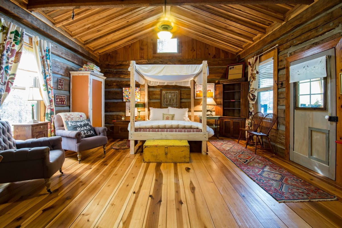 wooden bedroom in farmhouse