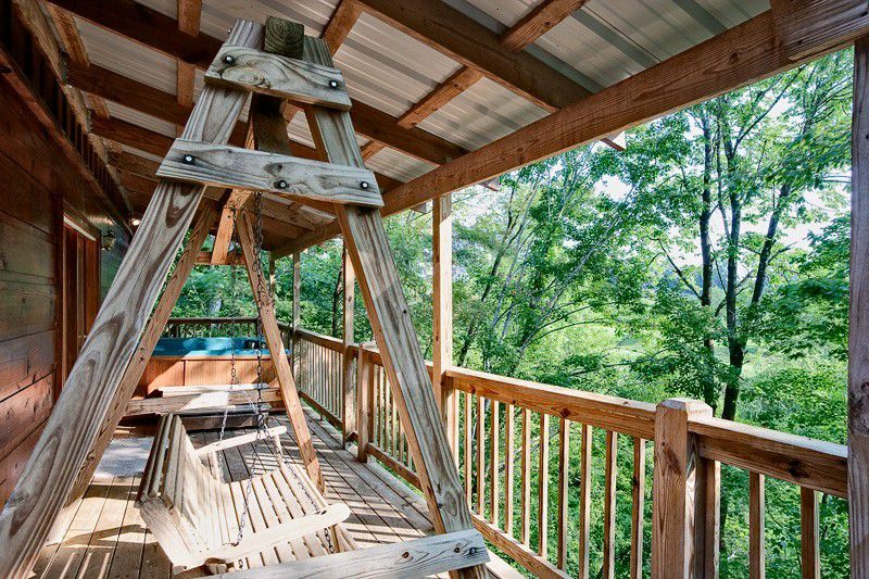 log wood house deck porch