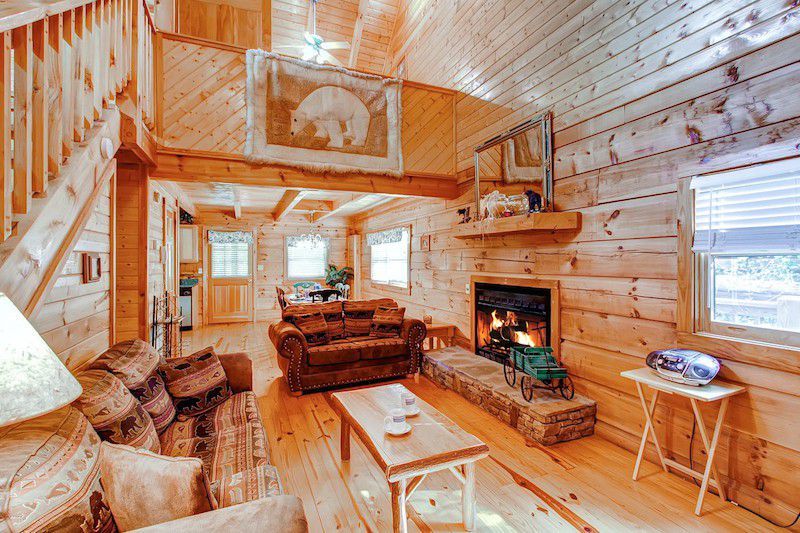 log wood house interior living room