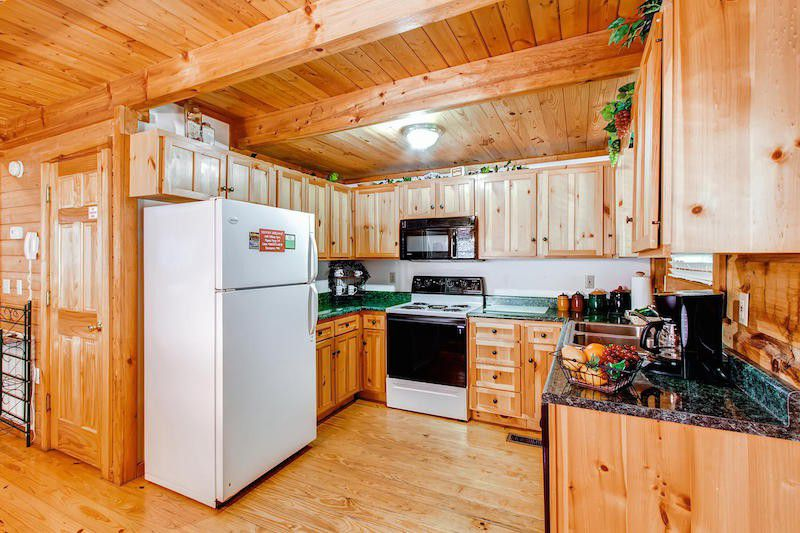 log wood house interior kitchen
