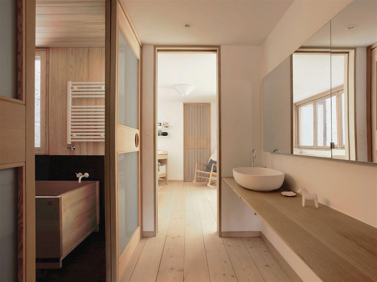 wood interior ideas and design, wood bathtub, wood wall and floor, bathroom, living room