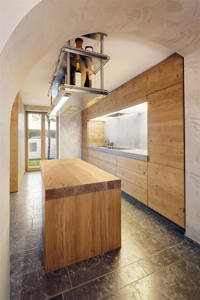 luxury wood kitchen countertop, wood drawers and kitchen closet, ceiling hanging shelves