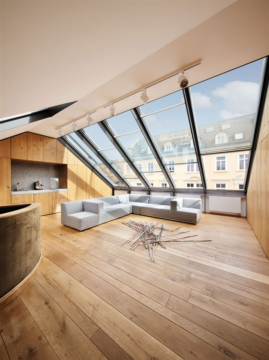 open glass roof windows, hardwood flooring, contemporary luxury wood interior design living room, big mikado game