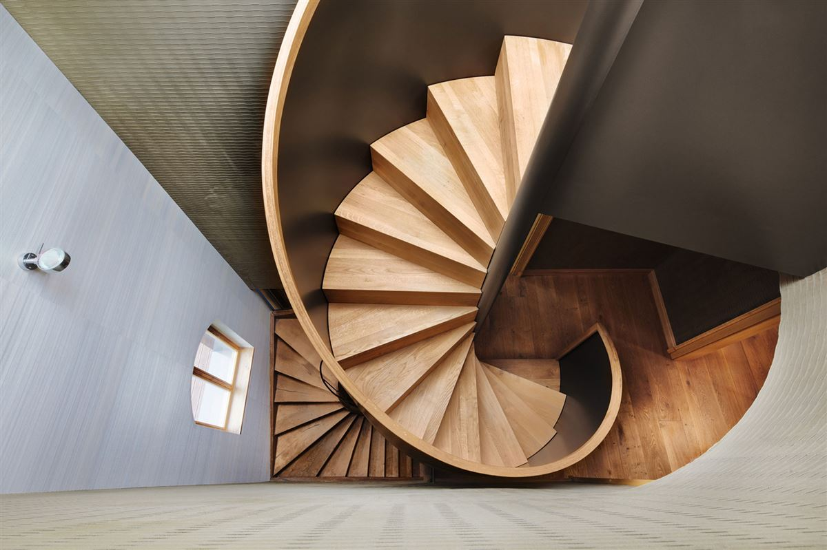 wooden spiral staircase, hardwood flooring, contemporary luxury wood interior design house