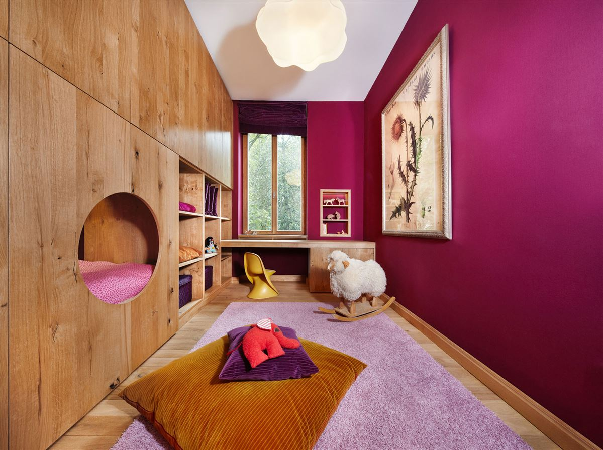 wood nest bed childreen roomm, wooden closets, hardwood flooring, violet red walls