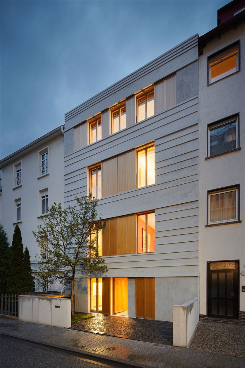 wooden shutters on a neoclassic german house renovation
