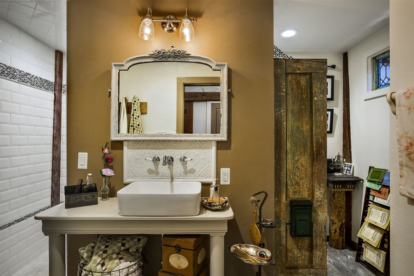 rustic style bathroom wood renovated barn