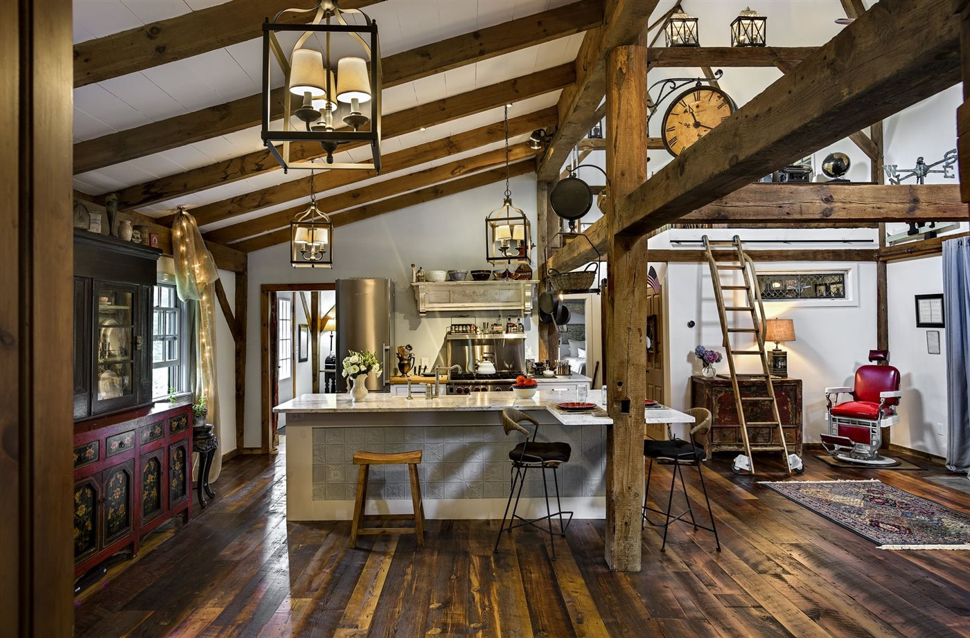 renovated barn into modern wood and rustic interior