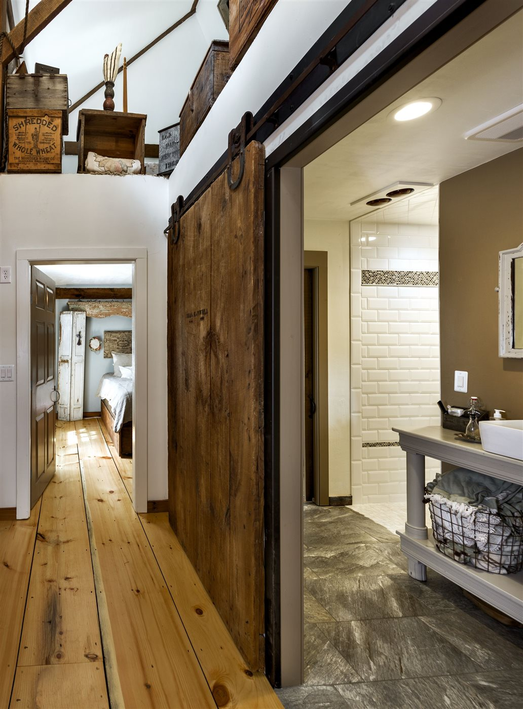 wood sliding barn doors in renovated barn