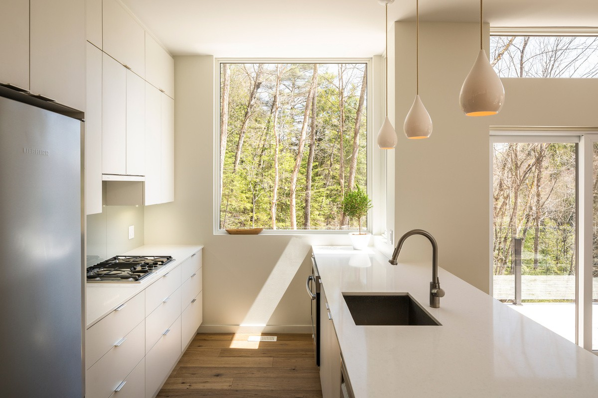 white and wood kitchen interior design, forest cottage