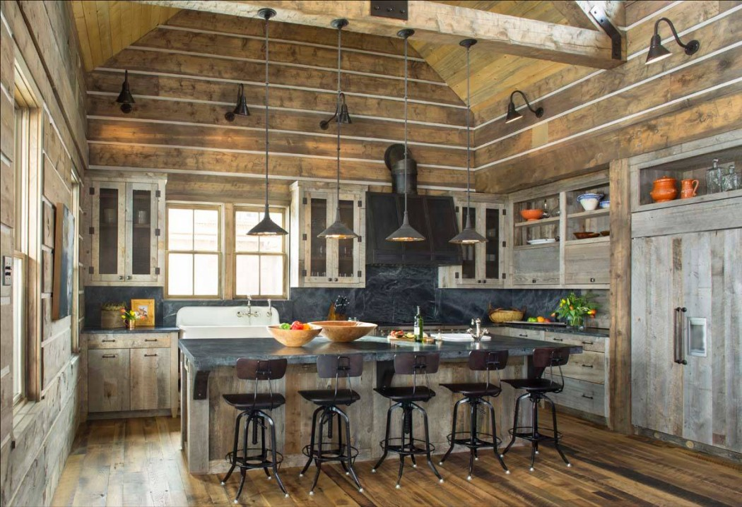awesome wood kitchen design ideas with wooden floor, wall and ceiling,