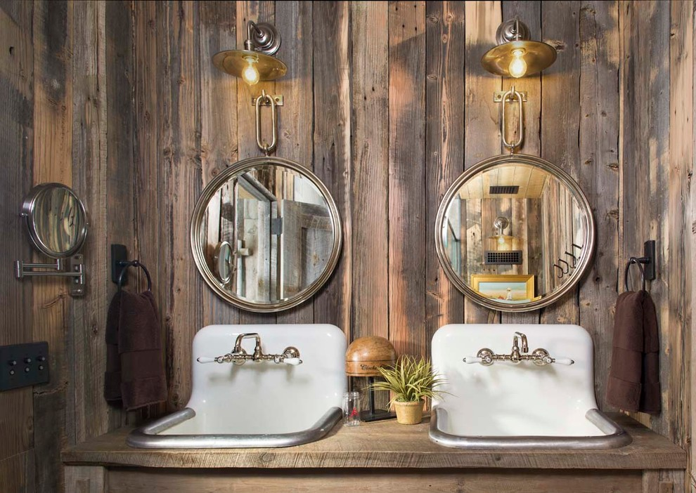wood wall with mirrors and light, rustic sink ideas, bathroom design