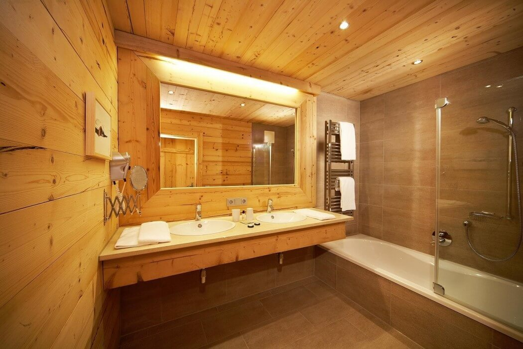 wood walls and ceiling design ideas, sink and bathtub, bathroom