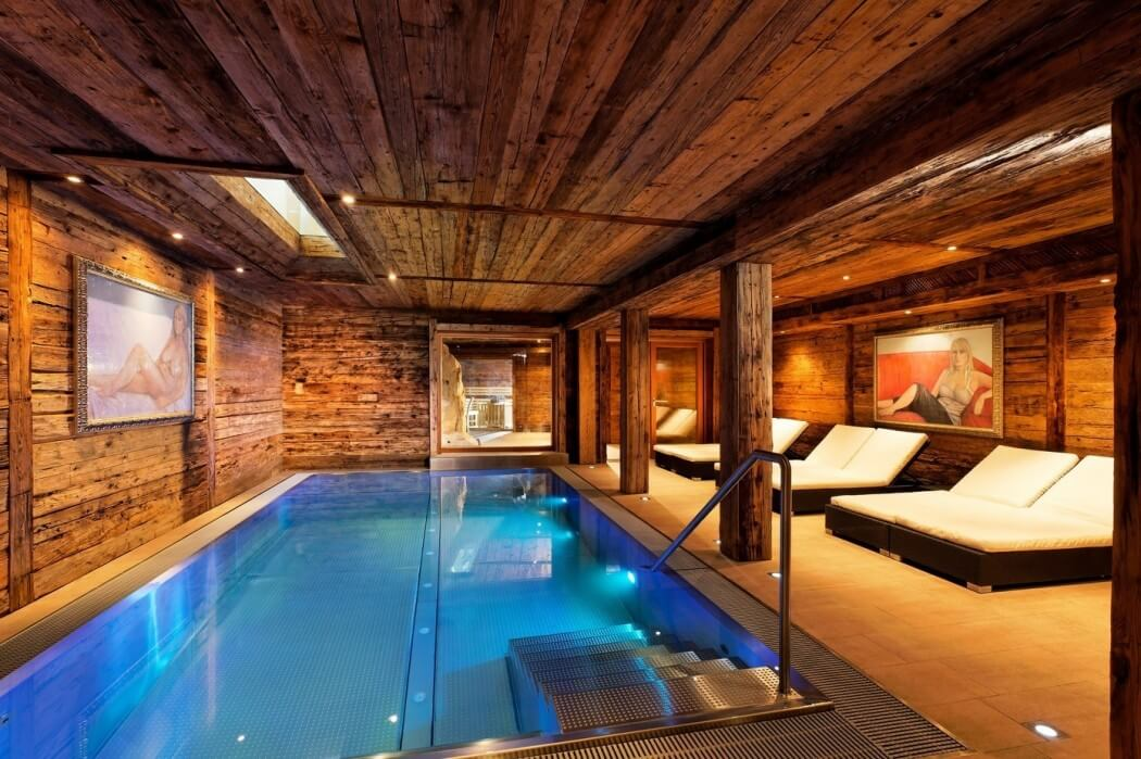 indoor pool, wood ceiling, pillar, and beam, reused wood design ideas