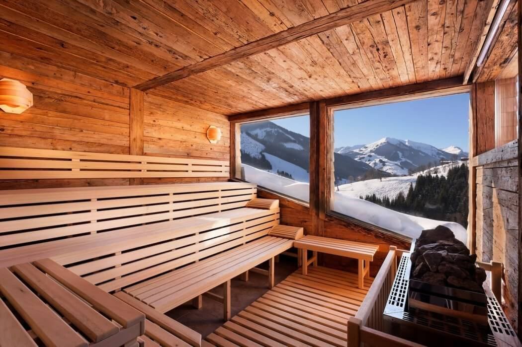 wood sauna, cozy interior design ideas, wood ceiling, bench, floor