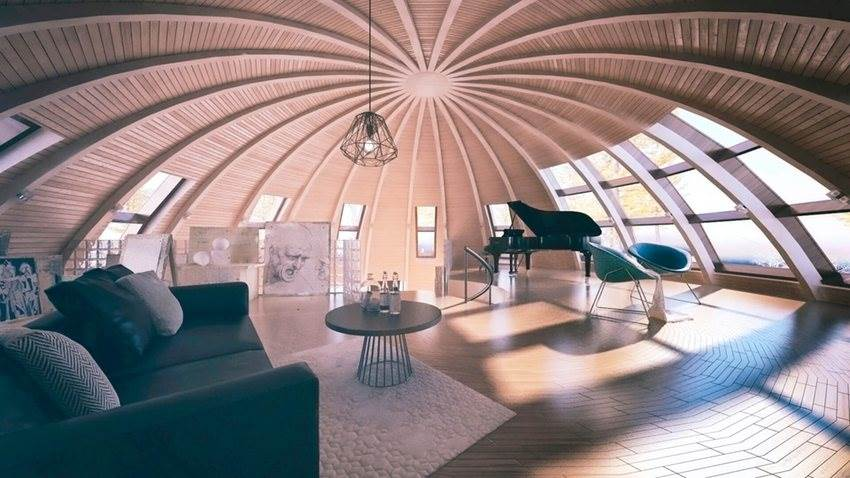 Spacious living room in Dome house