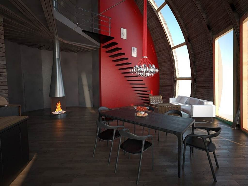Dining room with fireplace and stairs