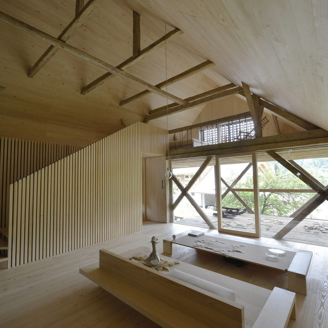 wooden table and bench, wood open ceiling, wall, floor, stairs design ideas, barn house