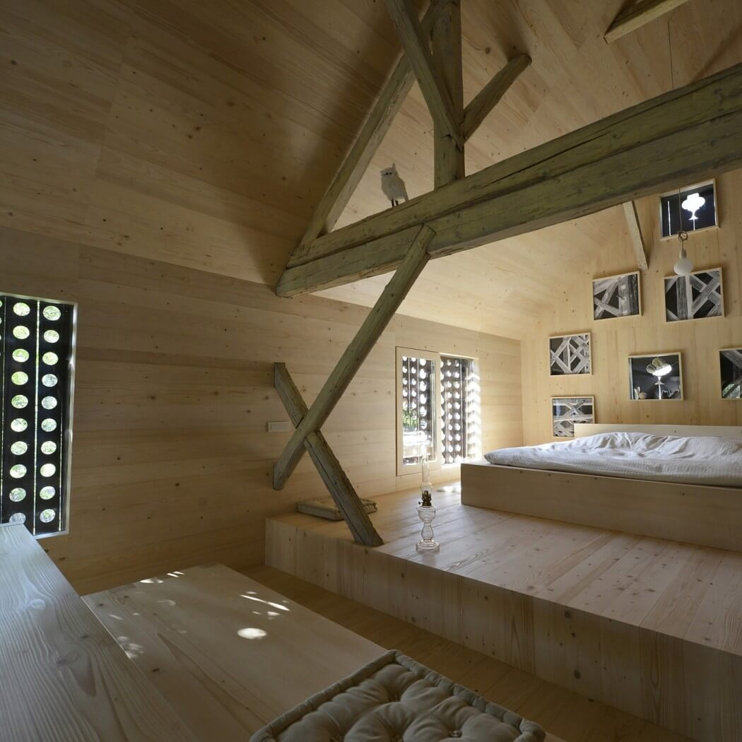 wood beam, open ceiling, wooden floor, wall, bedroom design ideas, barn house
