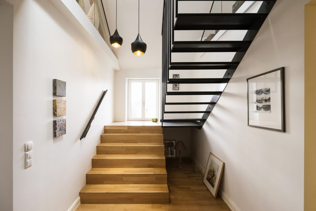 wood stairs and floor design ideas, lighting, hallway decoration