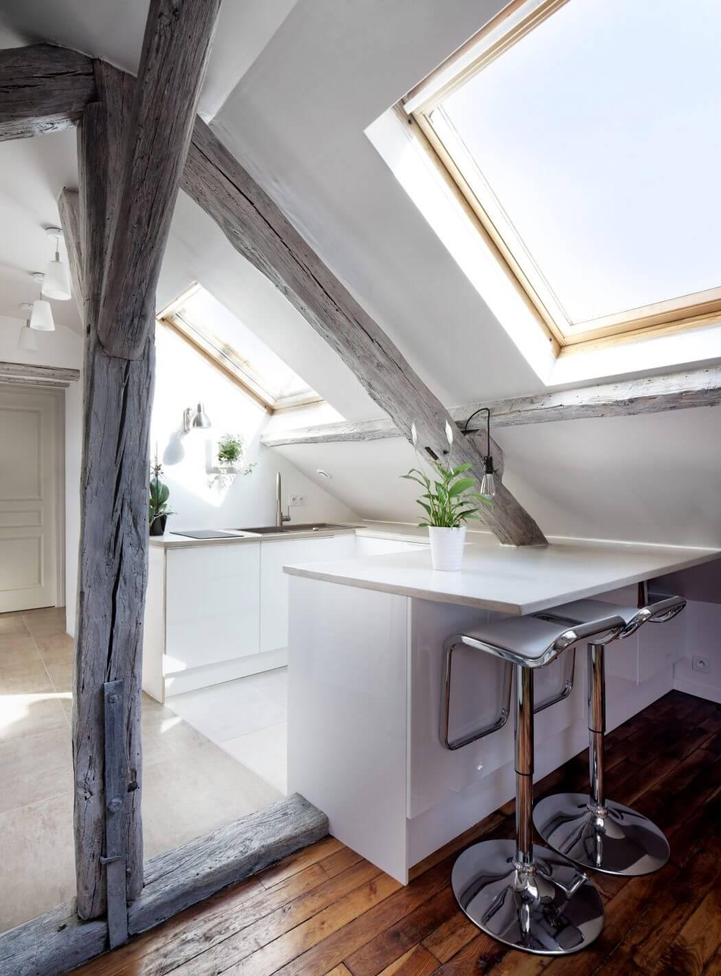 cozy attic apartment woodz wood beam roof window kitchen design ideas