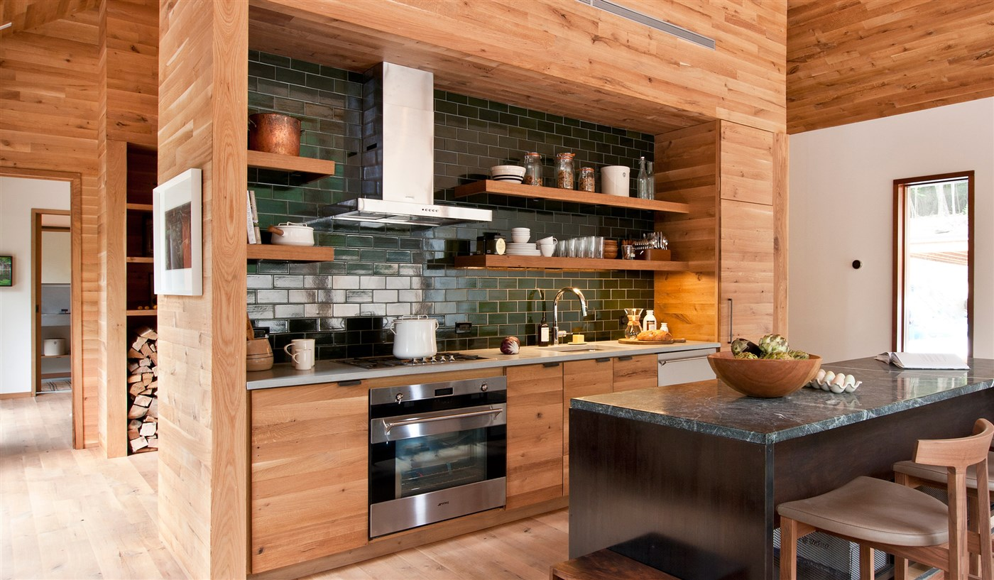 wood kitchen design ideas with wooden floor and ceiling