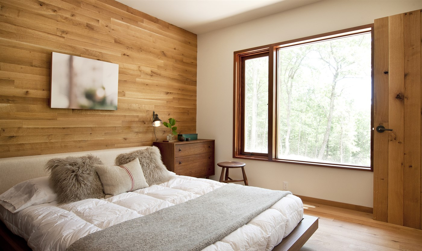 wood wall, floor and door, modern bed design ideas, bedroom