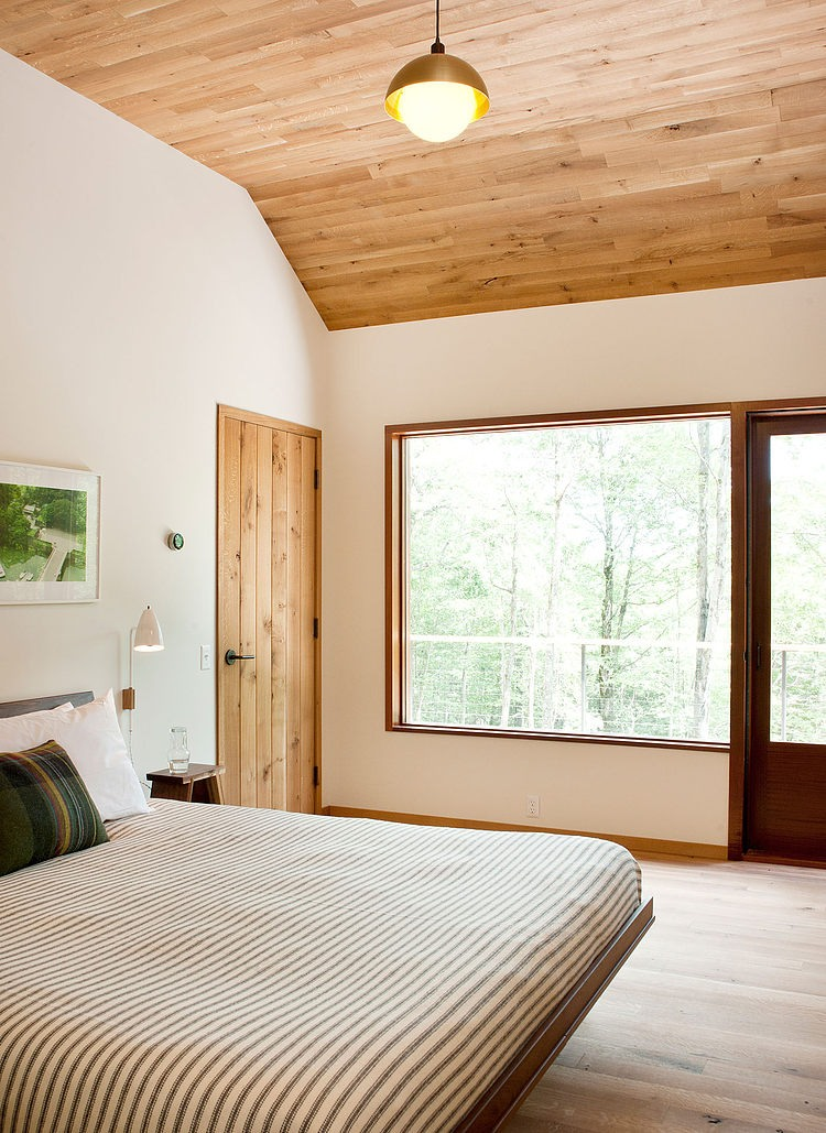 wood ceiling, floor, bedroom design ideas