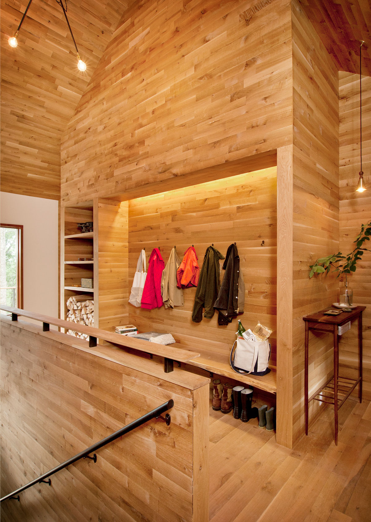 wood open wardrobe, wooden floor wall and ceiling design ideas, room decoration