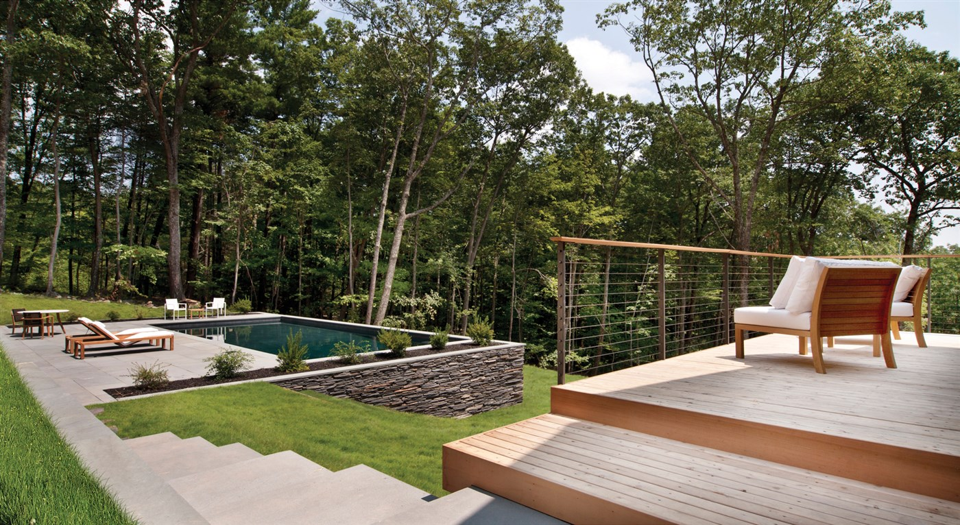 wood terrace with pool design ideas
