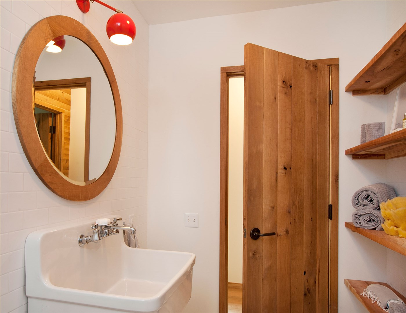 wood shelves, mirror and door, bathroom design ideas
