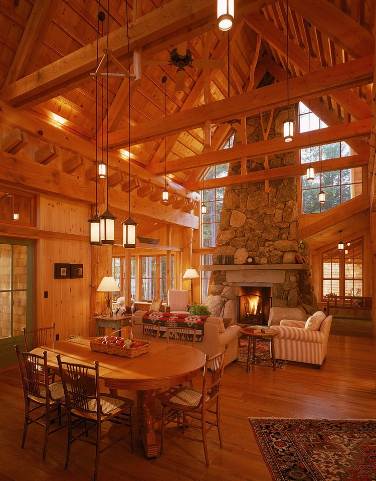 wood open ceiling, wall, floor, wooden table and chair, fireplace design ideas, living room