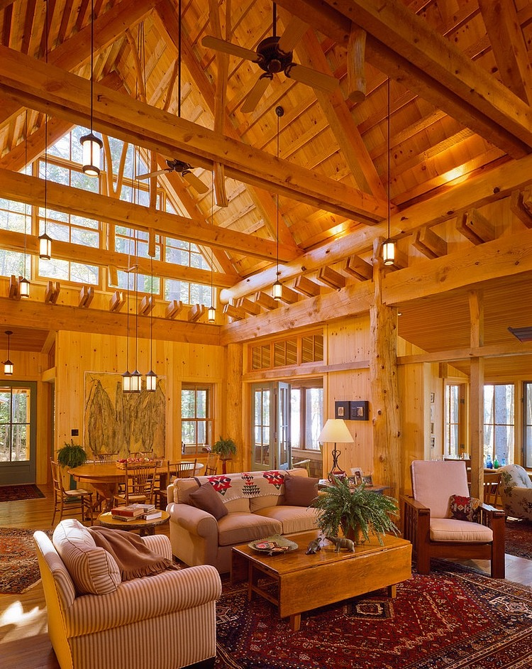 wood open ceiling, beam,wall, wooden coffee table ideas, living room decoration and design