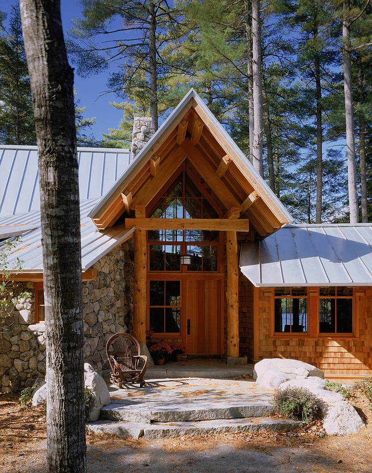 wood house entrance, wooden beam and roof design ideas