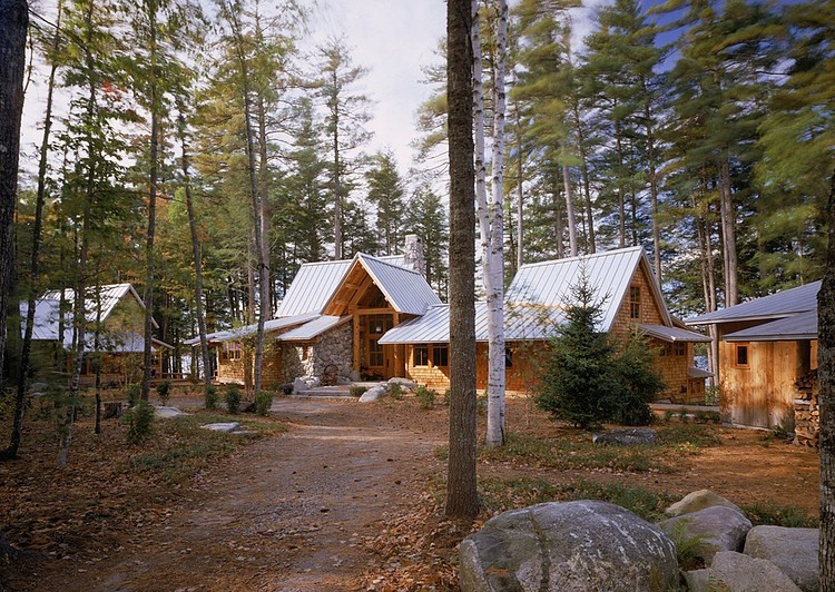 wood houses in the woods