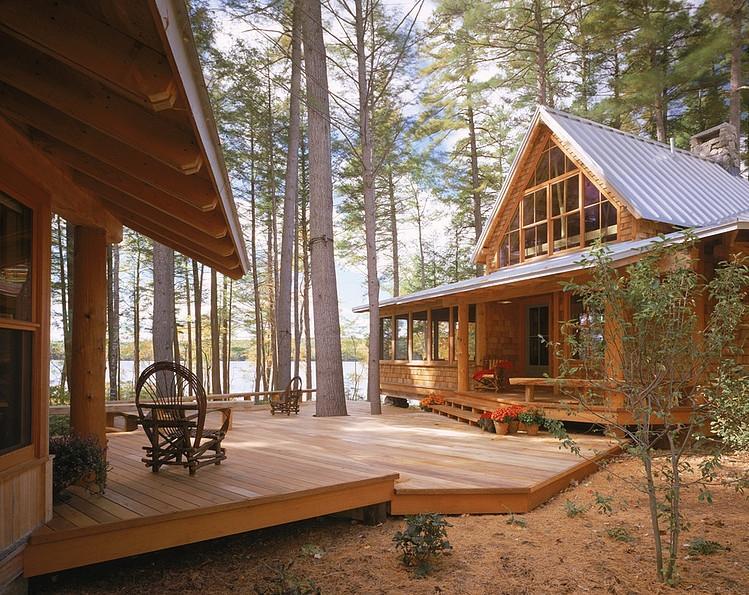 wood terrace decoration design ideas, cabin
