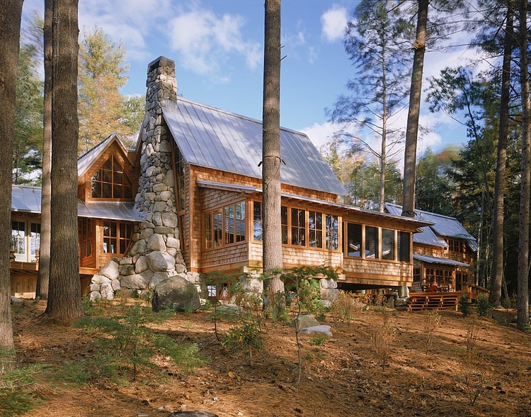 wood cabin with stone chimeny, design ideas