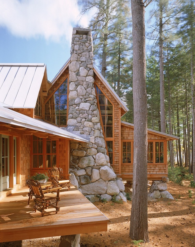 wood terrace and stone chimeny design ideas
