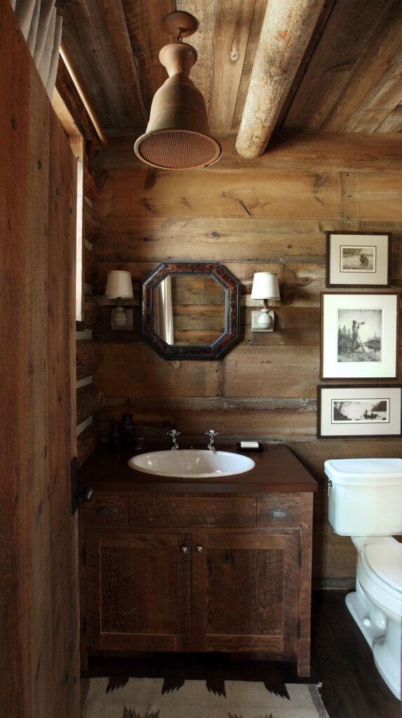 wood rustic sink, wooden wall and ceiling design ideas, bathroom