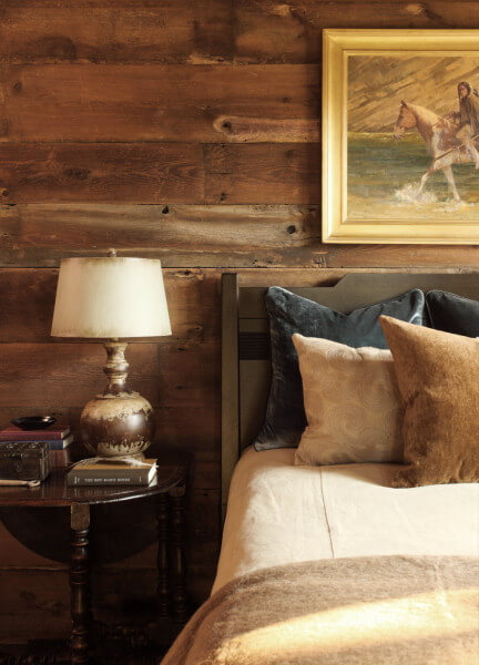 wood bed, table and wall design ideas, bedroom decoration