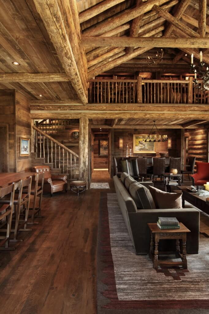 wood open ceiling, wooden stairs and wall design ideas, living room